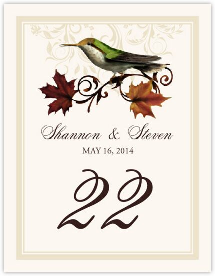 Fall Indy Autumn and Fall Leaves Table Numbers