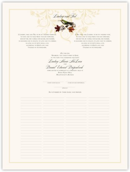 Fall Indy Flourish Autumn Leaves Wedding Certificates