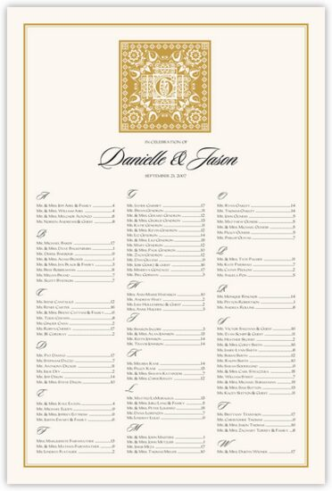 Floral Paisley Pattern Indian Wedding Seating Charts