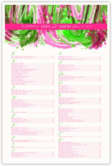 Fuschia and Celadon Colorful Abstraction Contemporary and Classic Wedding Seating Charts