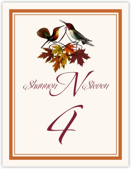 Gershwin and Giggles Autumn and Fall Leaves Table Numbers