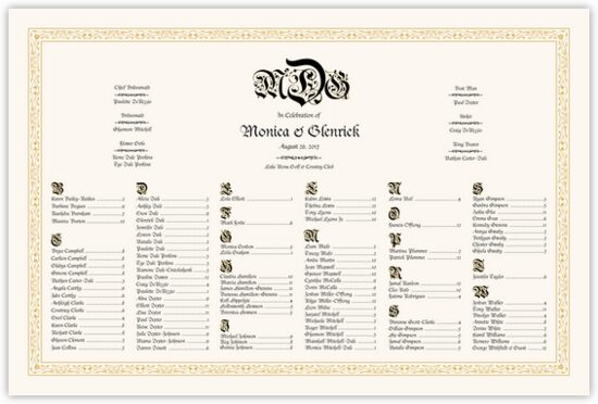 Blackletter Gothic Contemporary and Classic Wedding Seating Charts