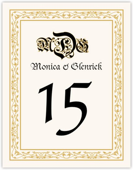 Blackletter Gothic Contemporary and Classic Table Numbers
