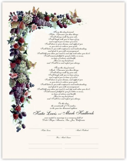 Fruit and Butterflies Grapes and Fruit Wedding Certificates