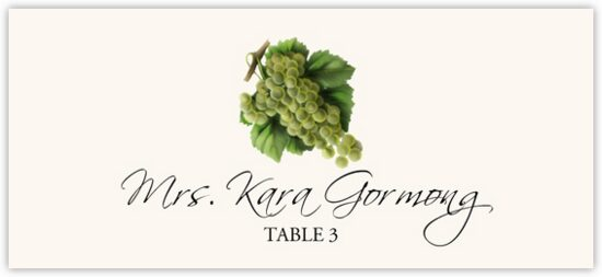 Green Grapes Fruit, Grapes and Vineyard Place Cards