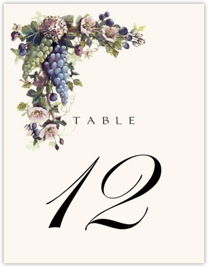 Green and Blue Grapes Fruit and Grape Table Numbers