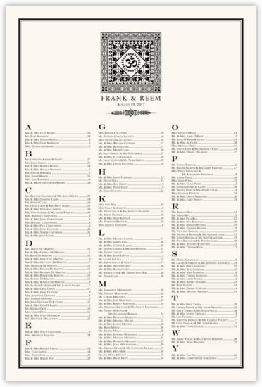 Square Om Monogram Pattern Indian Wedding Seating Charts