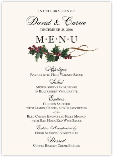 Holly Swirl Winter, Snowflake, and Holiday Menus
