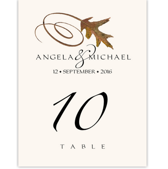 White Oak Swirly Leaf Autumn and Fall Leaves Table Numbers