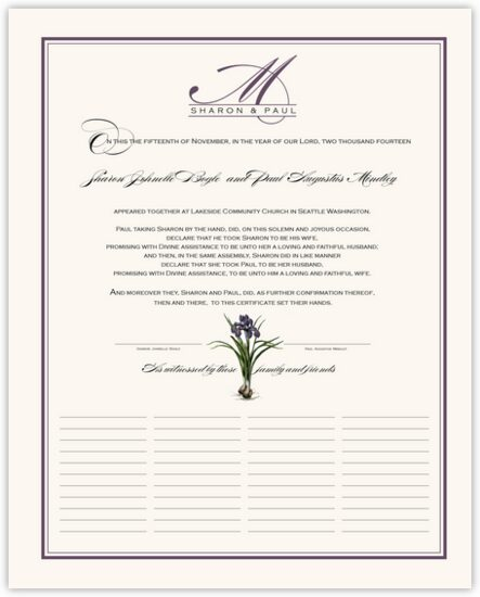 Iris Bulb Flower Wedding Certificates