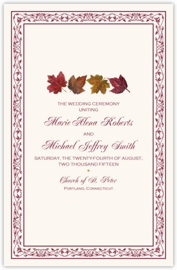 Maple Leaf Pattern Autumn/Fall Leaves Wedding Programs