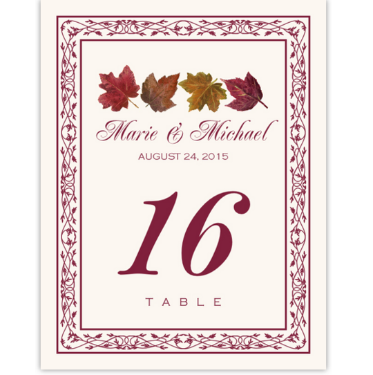 Maple Leaf Pattern Autumn and Fall Leaves Table Numbers