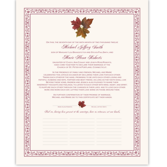 Tri Maple Leaf Pattern Autumn Leaves Wedding Certificates