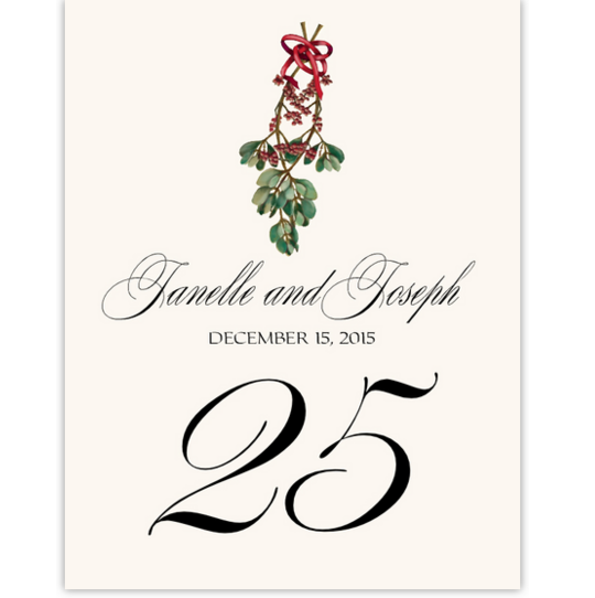 Mistletoe Bow Winter, Snowflake, and Holiday Table Numbers