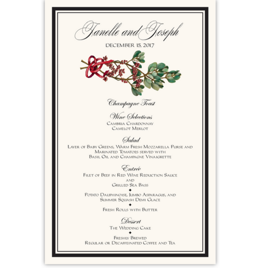 Mistletoe Winter, Snowflake, and Holiday Menus