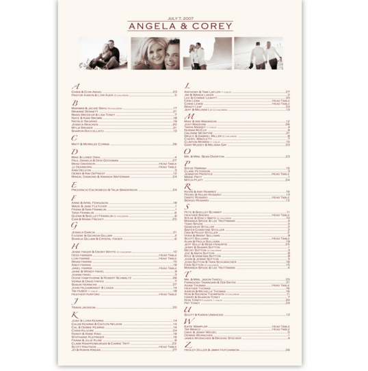 Montage Photography Wedding Seating Charts