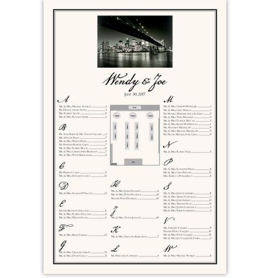 City Skyline Photo Seating Chart with Floor Plan Photography Wedding Seating Charts