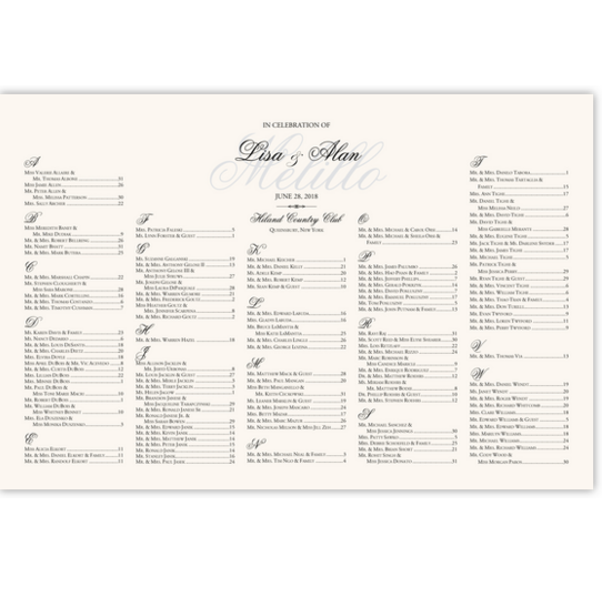 Old Script and Garamond Watermark Contemporary and Classic Wedding Seating Charts