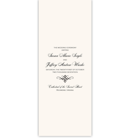 Only Calligraphy Contemporary and Classic Wedding Programs