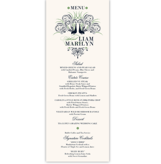 Passionate Peacock Birds and Butterflies Wedding Menus
