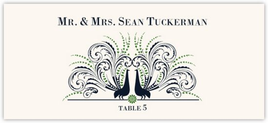 Passionate Peacock Birds and Butterflies Place Cards
