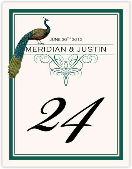 Peacock Flourish Monogram Birds and Butterflies Table Numbers