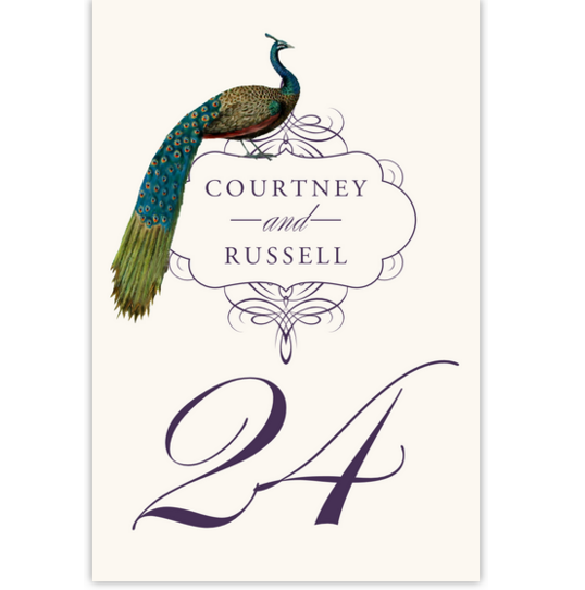Peacock Flourish Swirl Birds and Butterflies Table Numbers