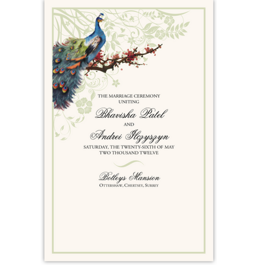 Peacock in a Plum Tree Birds and Butterflies Wedding Programs