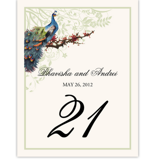Peacock in a Plum Tree Flourish Birds and Butterflies Table Numbers