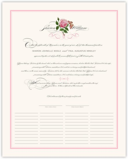 Pink Tea Rose Flower Wedding Certificates