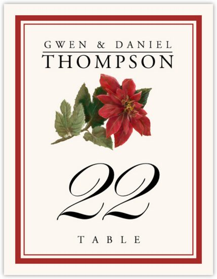 Poinsettia Winter, Snowflake, and Holiday Table Numbers