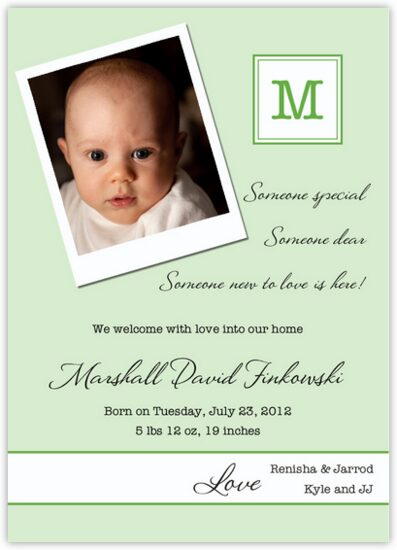 Polaroid Green Birth Announcements