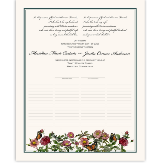 Rose Garden Flower Wedding Certificates