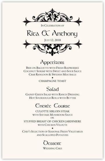 Royal Lion Contemporary and Classic Menus