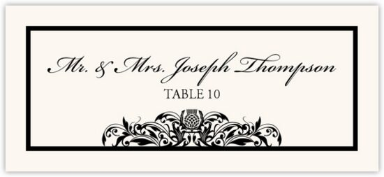 Scottish Thistle Celtic/Irish Inspired Wedding Place Cards