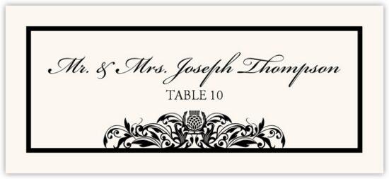 Scottish Thistle Celtic/Irish Inspired Wedding Place Cards