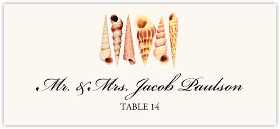 Seashell Pattern Beach, Seashell, and Fish Place Cards