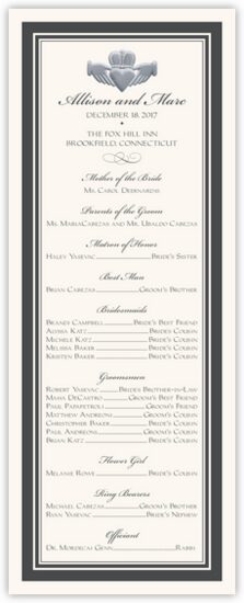 Silver Claddagh Border Celtic Wedding Programs