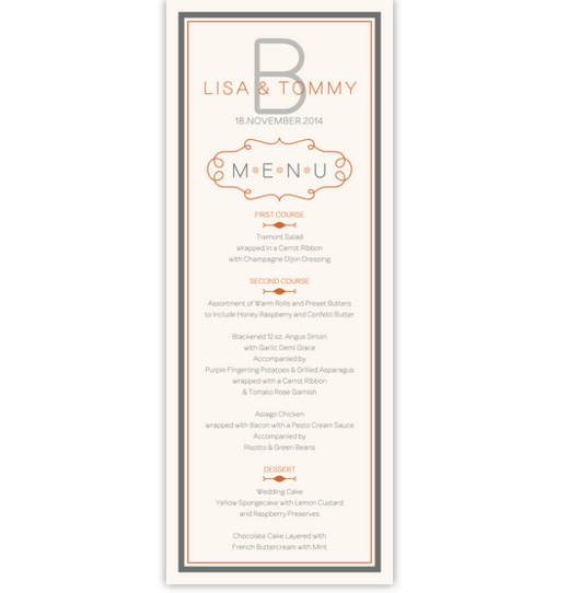 Brownstone Monogram 15 Contemporary and Classic Menus