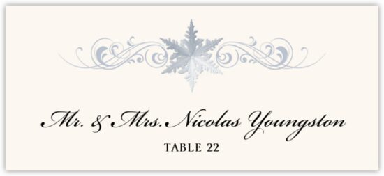 Snowflake Flourish Winter, Snowflake, and Holiday Place Cards