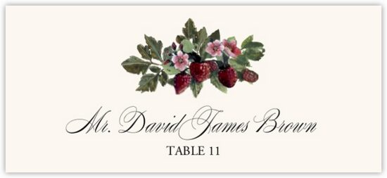 Strawberry Patch Fruit, Grapes and Vineyard Place Cards