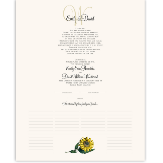 Sunflower Flower Wedding Certificates