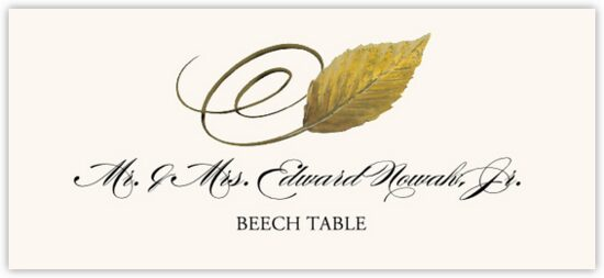 Beech Swirly Leaf Autumn/Fall Leaves Place Cards