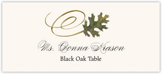 Black Oak Swirly Leaf Autumn/Fall Leaves Place Cards
