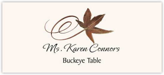 Buckeye Swirly Leaf Autumn/Fall Leaves Place Cards