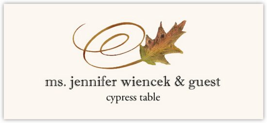 Cypress Swirly Leaf Autumn/Fall Leaves Place Cards