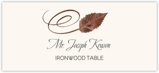Ironwood Swirly Leaf Autumn/Fall Leaves Place Cards