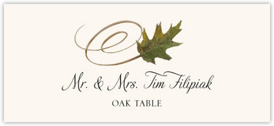 Oak Swirly Leaf Autumn/Fall Leaves Place Cards