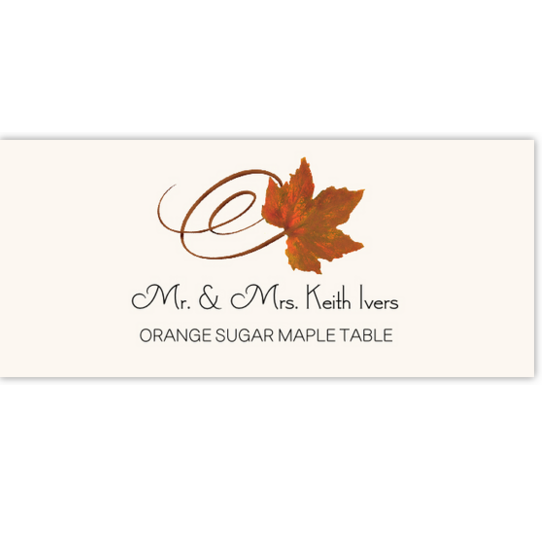 Orange Sugar Maple Swirly Leaf Autumn/Fall Leaves Place Cards