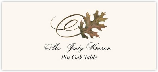 Pin Oak Swirly Leaf Autumn/Fall Leaves Place Cards